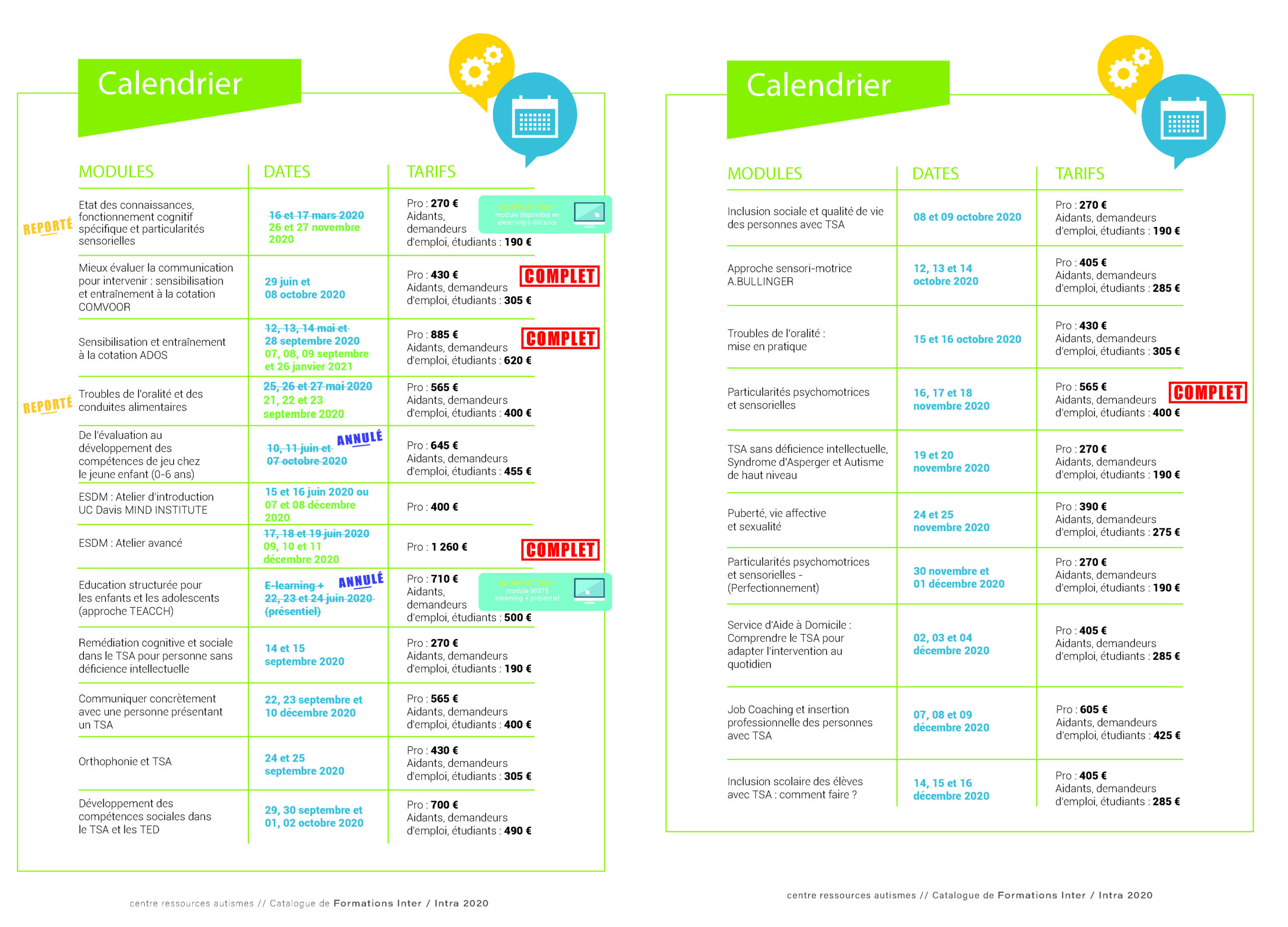 CALENDRIER DES FORMATIONS   Formations